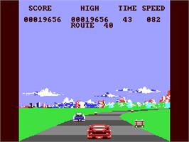 In game image of Crazy Cars 2 on the Commodore 64.