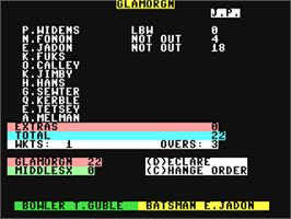 In game image of Cricket Captain on the Commodore 64.