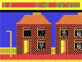 In game image of Crossfire on the Commodore 64.