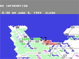 In game image of Crusade in Europe on the Commodore 64.