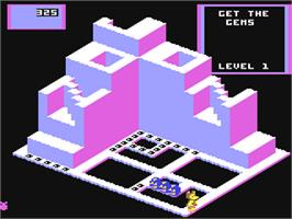 In game image of Crystal Castles on the Commodore 64.
