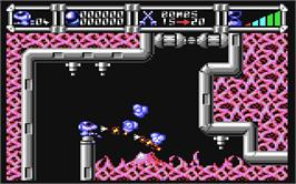 In game image of Cybernoid: The Fighting Machine on the Commodore 64.