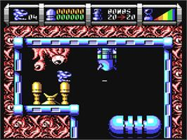 In game image of Cybernoid 2: The Revenge on the Commodore 64.
