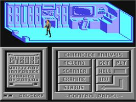 In game image of Cyborg on the Commodore 64.