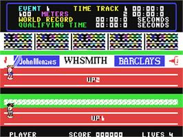 In game image of Daley Thompson's Decathlon on the Commodore 64.