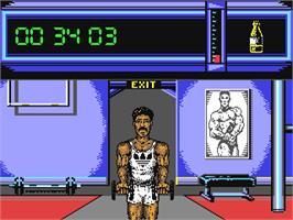 In game image of Daley Thompson's Olympic Challenge on the Commodore 64.