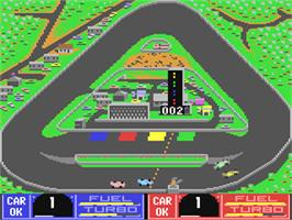In game image of Danny Sullivan's Indy Heat on the Commodore 64.
