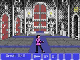 In game image of Dark Castle on the Commodore 64.