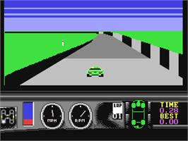 In game image of Days of Thunder on the Commodore 64.