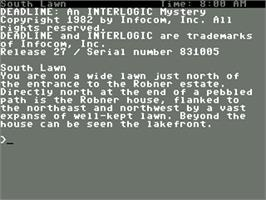 In game image of Deadline on the Commodore 64.