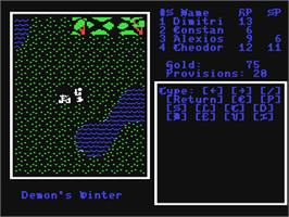 In game image of Demon's Winter on the Commodore 64.