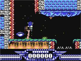 In game image of Demon Blue on the Commodore 64.