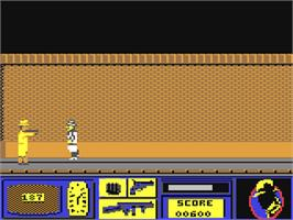 In game image of Dick Tracy on the Commodore 64.
