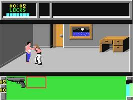 In game image of Die Hard on the Commodore 64.