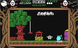 In game image of Dizzy: The Ultimate Cartoon Adventure on the Commodore 64.