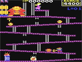 In game image of Donkey Kong on the Commodore 64.