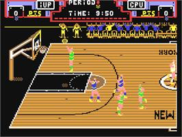 In game image of Double Dribble on the Commodore 64.