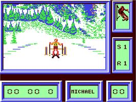 In game image of Downhill Challenge on the Commodore 64.