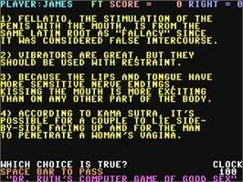 In game image of Dr. Ruth's Computer Game of Good Sex on the Commodore 64.