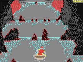 In game image of Dragon's Lair II: Escape from Singe's Castle on the Commodore 64.