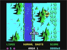 In game image of Dragon Spirit: The New Legend on the Commodore 64.