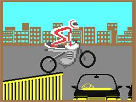 In game image of Eddie Kidd Jump Challenge on the Commodore 64.