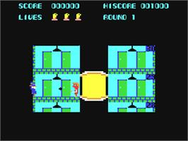 In game image of Elevator Action on the Commodore 64.