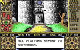 In game image of Elvira: Mistress of the Dark on the Commodore 64.