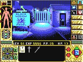 In game image of Elvira II: The Jaws of Cerberus on the Commodore 64.