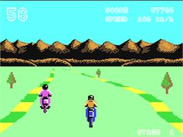 In game image of Enduro Racer on the Commodore 64.
