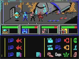 In game image of Enigma Force on the Commodore 64.