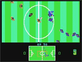 In game image of European Football Champ on the Commodore 64.