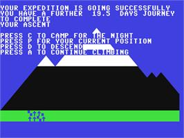 In game image of Everest Ascent on the Commodore 64.
