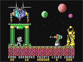 In game image of Exolon on the Commodore 64.