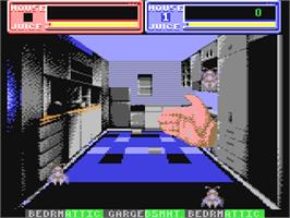 In game image of Exterminator on the Commodore 64.