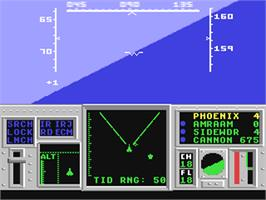 In game image of F-14 Tomcat on the Commodore 64.
