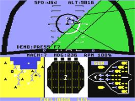 In game image of F-15 Strike Eagle on the Commodore 64.