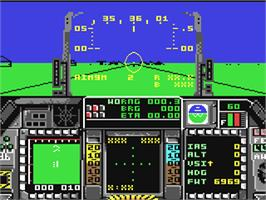In game image of F-16 Combat Pilot on the Commodore 64.