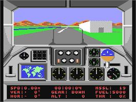 In game image of F-18 Hornet on the Commodore 64.