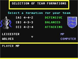 In game image of F.A Cup Football on the Commodore 64.