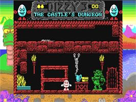 In game image of Fantasy World Dizzy on the Commodore 64.