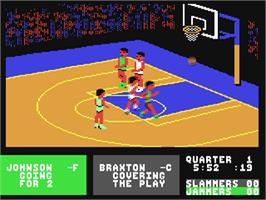 In game image of Fast Break on the Commodore 64.