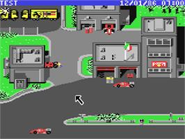 In game image of Ferrari Formula One on the Commodore 64.