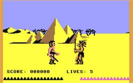 In game image of Fighting Warrior on the Commodore 64.