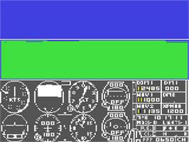 In game image of Flight Simulator II on the Commodore 64.