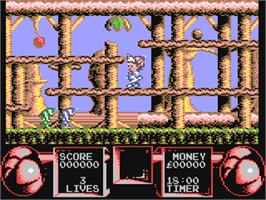 In game image of Flimbo's Quest on the Commodore 64.