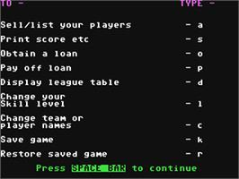 In game image of Football Manager on the Commodore 64.