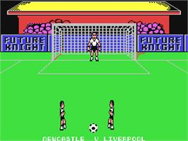 In game image of Footballer of the Year on the Commodore 64.