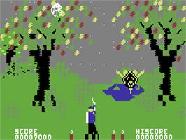 In game image of Forbidden Forest on the Commodore 64.