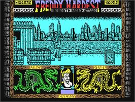 In game image of Freddy Hardest in South Manhattan on the Commodore 64.